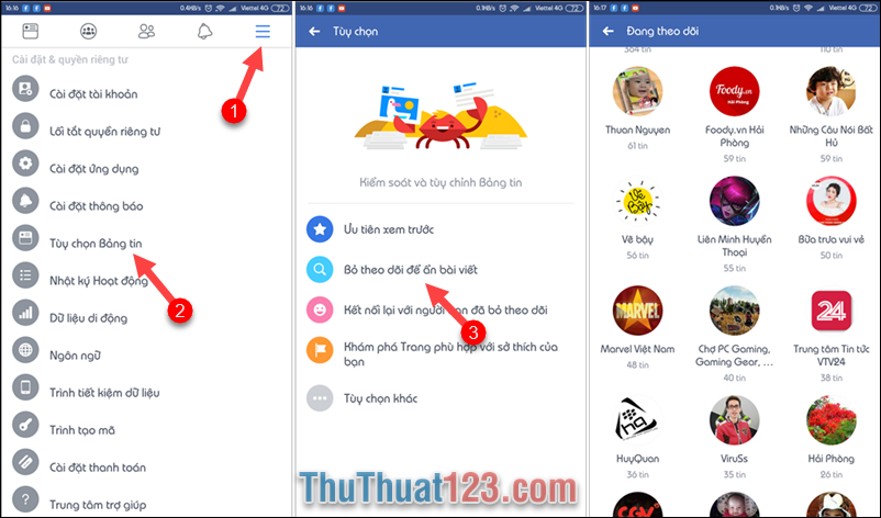 bỏ theo dõi hàng loạt facebook trên điện thoại