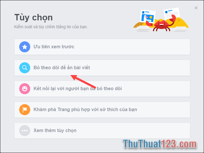chọn bỏ theo dõi bài viết